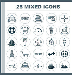 Transport icons set collection of speed checker vector