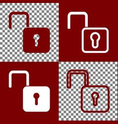 Unlock sign bordo and white vector