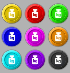 Weight icon sign symbol on nine round colourful vector image