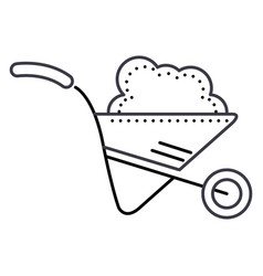 wheelbarrow garden line icon sign vector image