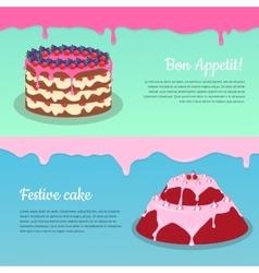Bon appetit festive cake web banner chocolate vector