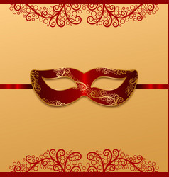 Red carnival mask with golden decoration vector