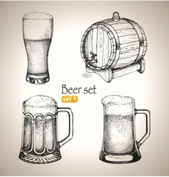 Beer oktoberfest set toby jugs and beer barrel vector