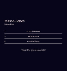 Black business card template info on the lines vector
