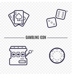 Gambling simple line icon card dice casino chip vector