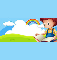 Little boy reading book in park vector