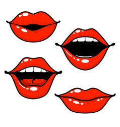 Woman lips emotions - open closed and kissing lips vector