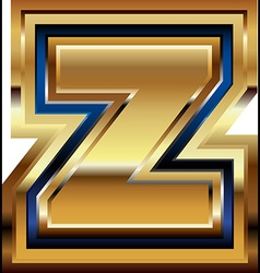 Golden font letter z vector