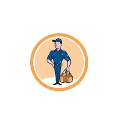 Paramedic holding bag circle cartoon vector