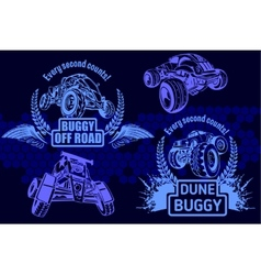 Dune buggy and monster truck - badge vector