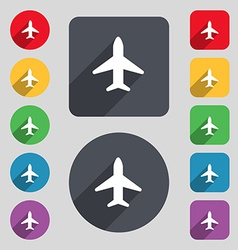Airplane plane travel flight icon sign a set of 12 vector