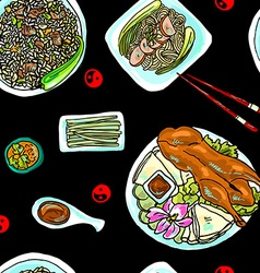 Seamless pattern chinese food vector