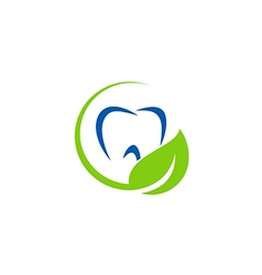 Dentist teeth leaf organic logo vector