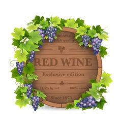 Grapes and wooden barrel vector