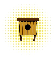Wooden beehive icon comics style vector