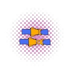 Aviation seat belt icon comics style vector