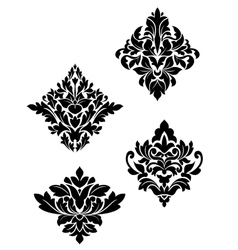 Damask flower patterns vector