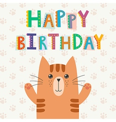 Happy birthday greeting card with a cute cat vector