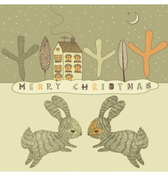 Retro rabbits christmas card vector