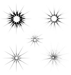 Explode flash cartoon explosion burst set vector