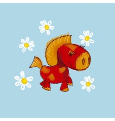 Kiddy little red pony with daisy vector