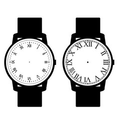 blank hand watch face on white background vector image vector image