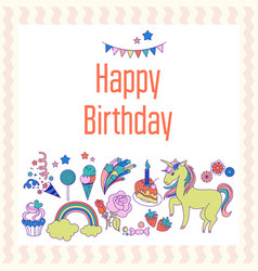 Bright birthday card with unicorn flower cloud vector