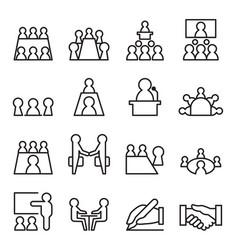 conference meeting icon set in thin line style vector image