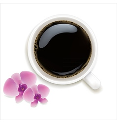 Cup Of Coffee With Orchids vector image