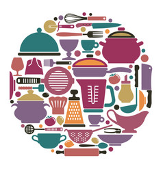 Dishes cooking utensils and cutlery vector