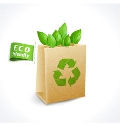 Ecology symbol paper bag vector image