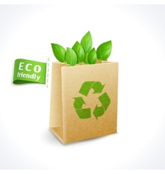Ecology symbol paper bag vector image vector image