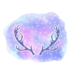 Elk antlers deer head abstract background vector