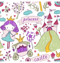 Fairy tale princess seamless pattern vector