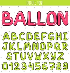 Font ballon set volume letters numbers in doodle vector