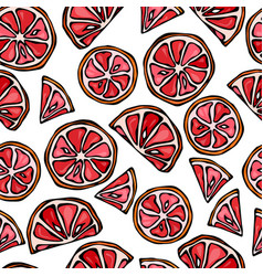 Grapefruit seamless slices background pattern of vector