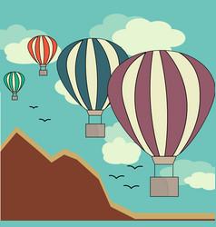 Hot air balloon in the sky vector