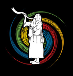 Jew blowing the shofar kudu horn blower vector