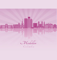 Medellin skyline in purple radiant orchid vector