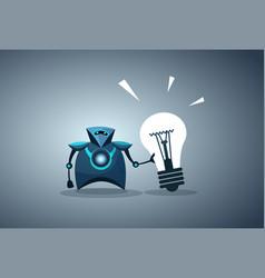 Modern robot holding light bulb innovation new vector