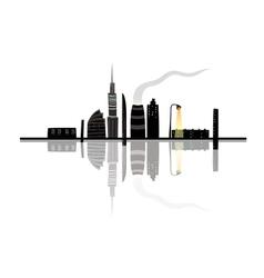 Night city landscape reflection cartoon vector