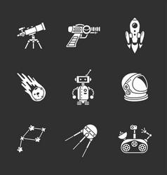 nine stylish space icons vector image