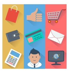 Online shopping and payment methods icons vector