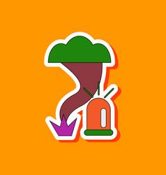 Paper sticker on stylish background tornado alarm vector