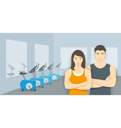 Personal fitness trainers asian man and woman in vector