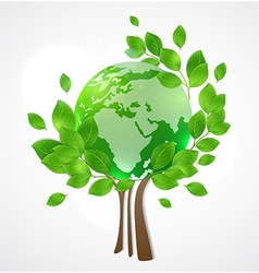 Planet earth and green tree vector