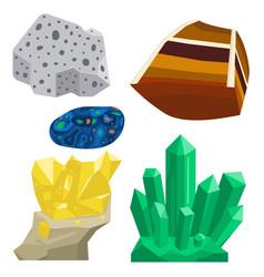 Semi precious gemstones stones and mineral vector