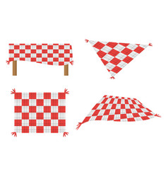 set blanket picnic tablecloth image vector image