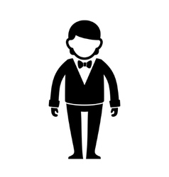 Silhouetted Man in Black Suit with Bow Tie vector image