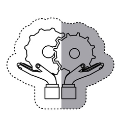 Sticker contour of hands holding a gear wheel icon vector